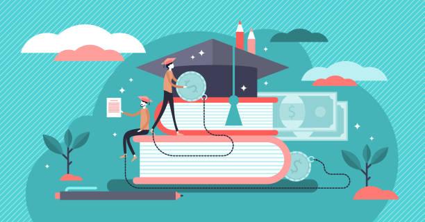 illustrations, cliparts, dessins animés et icônes de illustration de vecteur de prêts d'étudiant. plat minuscule étude des personnes de financement concept. - université