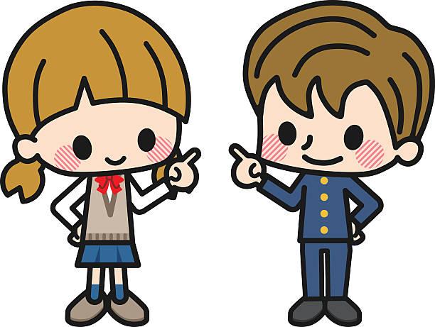 illustrazioni stock, clip art, cartoni animati e icone di tendenza di studente uomini e donne - two students together asian