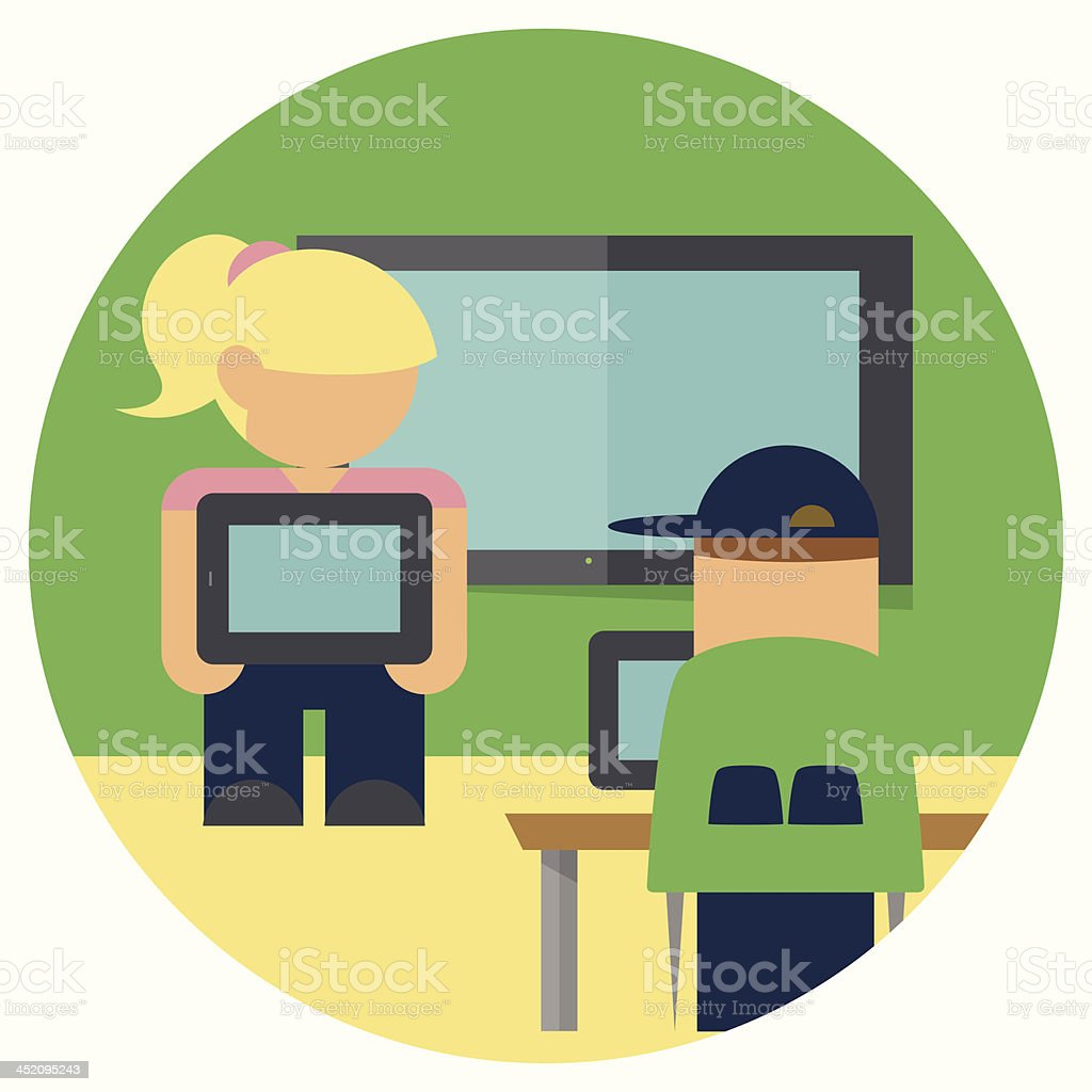 Student Presenting Using a Tablet and Flat Screen vector art illustration