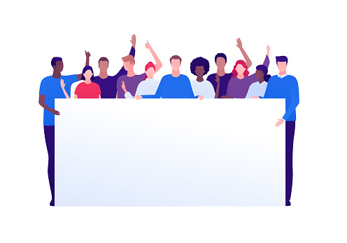 Student protest and activism concept. Vector flat person illustration. Crowd of multi-ethnic young adult people hold banner with copy space. Full-length. Design element for infographic, web, ad.