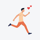 Student running to date flat icon. Young man, casual, red hearts. Love concept. Can be used for topics like romance, youth, time late