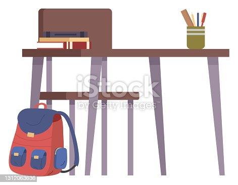 istock Student s school desk with stack of books and a pen holder in cartoon style. Back to school concept 1312063636