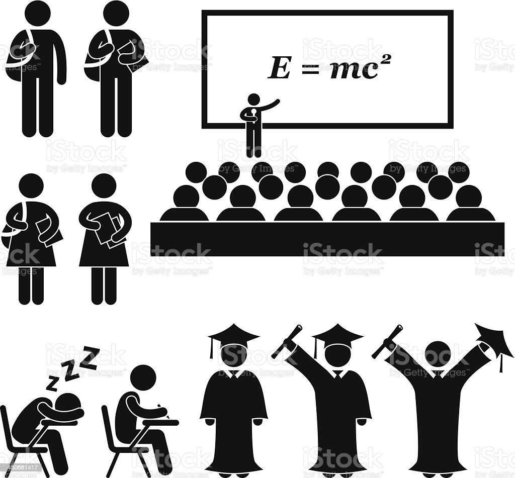 Student School College University Stick Figure Pictogram - 免版稅一個人圖庫向量圖形