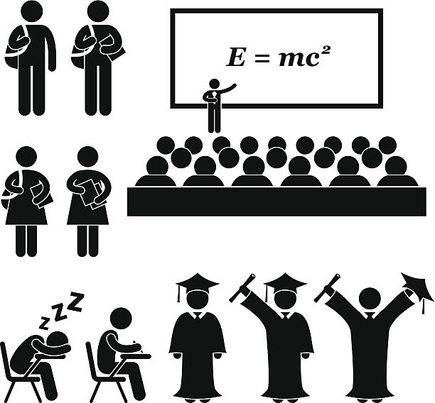 Student School College University Stick Figure Pictogram This is a set of people pictograms that represent school, college, and university. The related topic included are students, teacher, lecturer, and graduation. students stock illustrations