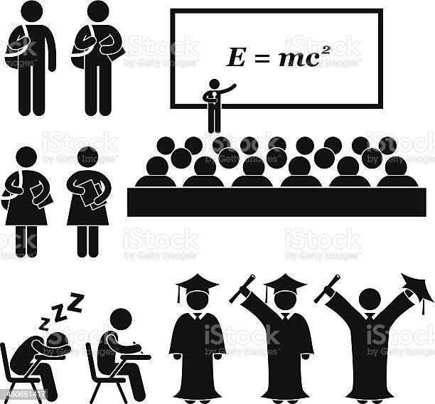 Student School College University Stick Figure Pictogram向量圖形及更多一個人圖片