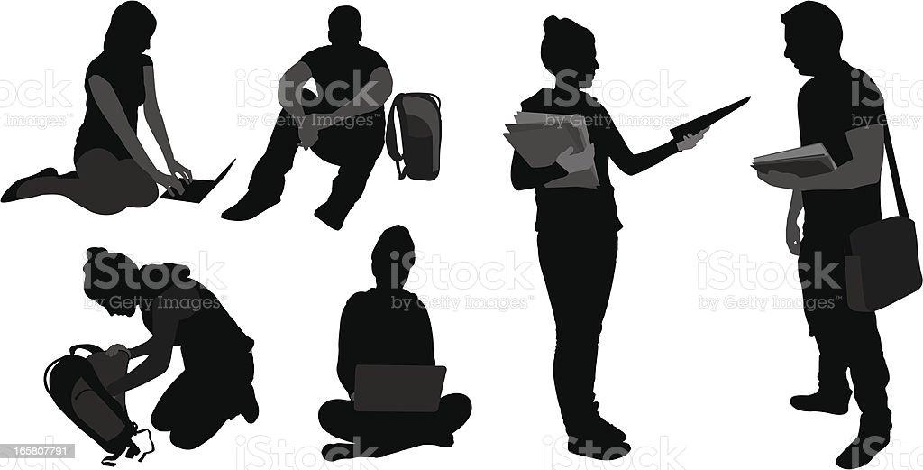 Student setting vector art illustration
