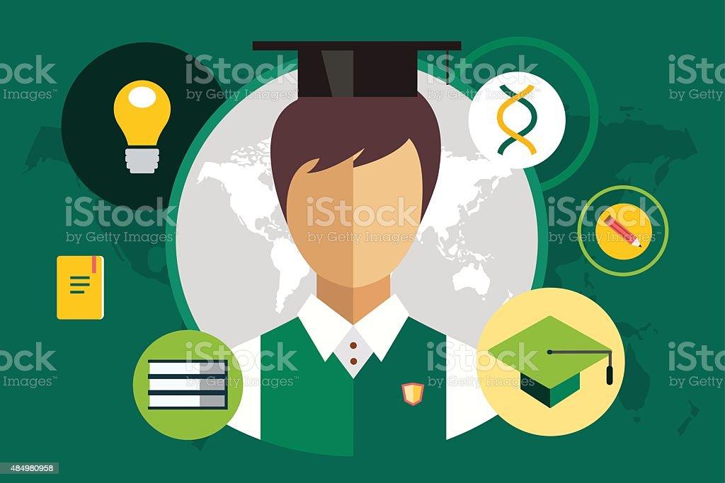 Estudiante de silhouette y objetos de la educación ilustración - ilustración de arte vectorial