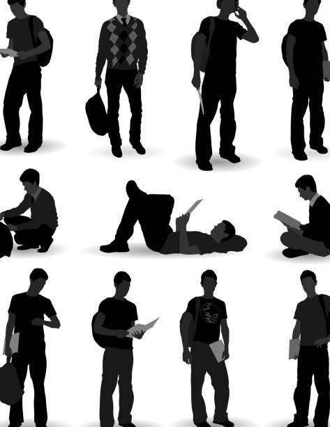 illustrazioni stock, clip art, cartoni animati e icone di tendenza di silhouette di studente - uomini giovani