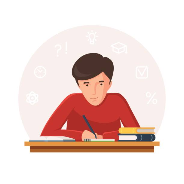 Student sitting at table Student sitting at table with books and writing. Young people preparing for exams at University or school. Icons of learning. Vector illustration isolated on white background writing activity stock illustrations
