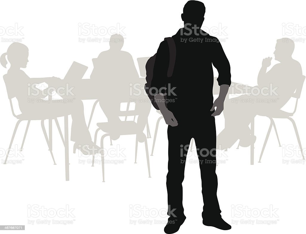 Student Standing vector art illustration