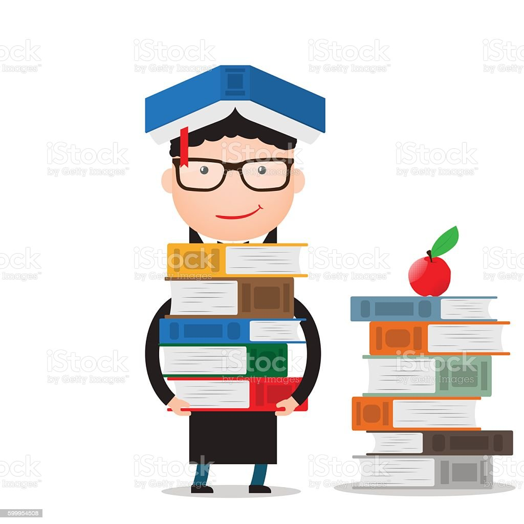 student stands and holds a large bundle of books vector art illustration