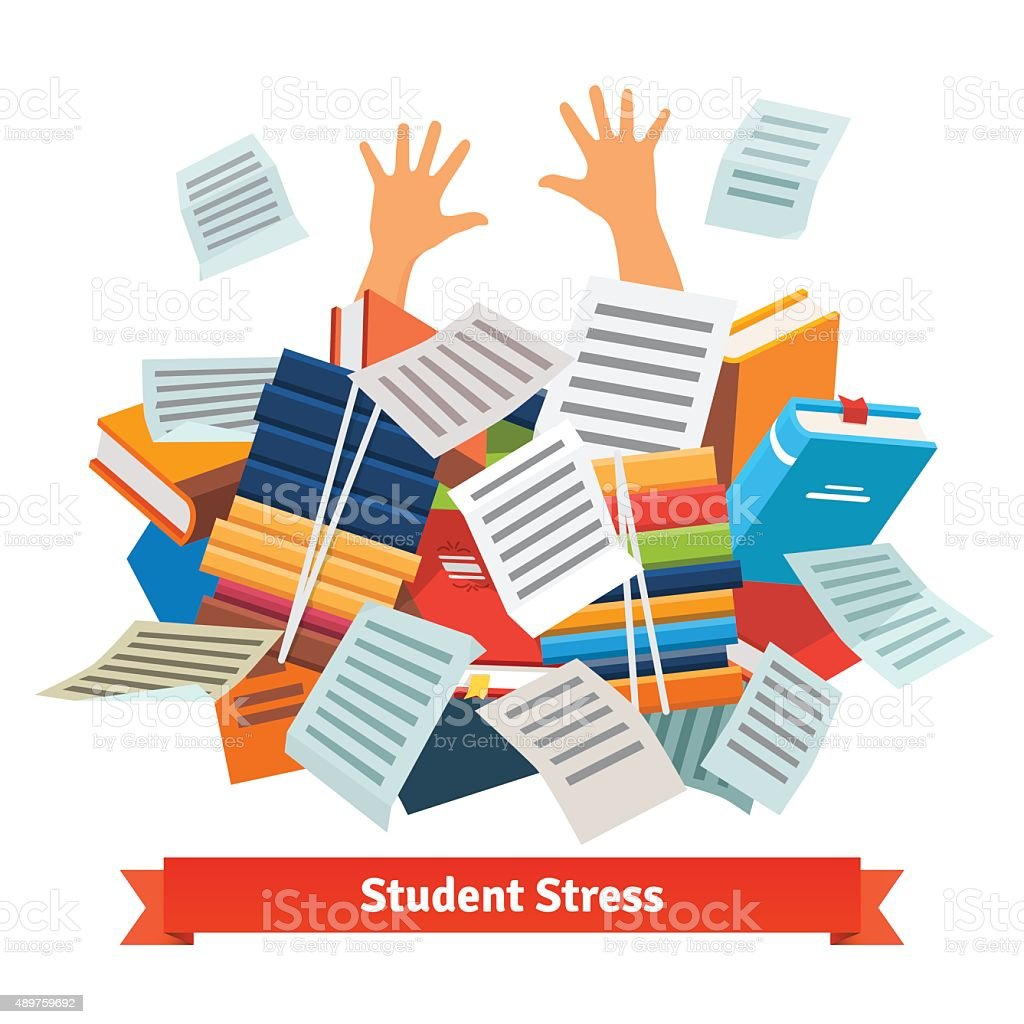 Student stress. Studying buried under a book pile vector art illustration