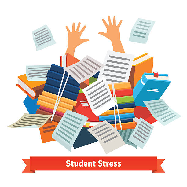 student stress. studying buried under a book pile - homework stock illustrations