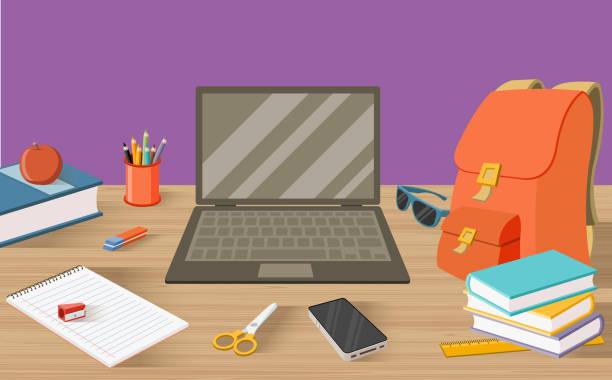 stockillustraties, clipart, cartoons en iconen met studenten tafel met boeken - schoolspullen