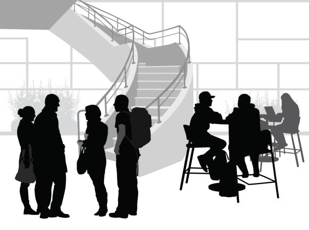 Student Talks College group of students talking in a common area architecture silhouettes stock illustrations