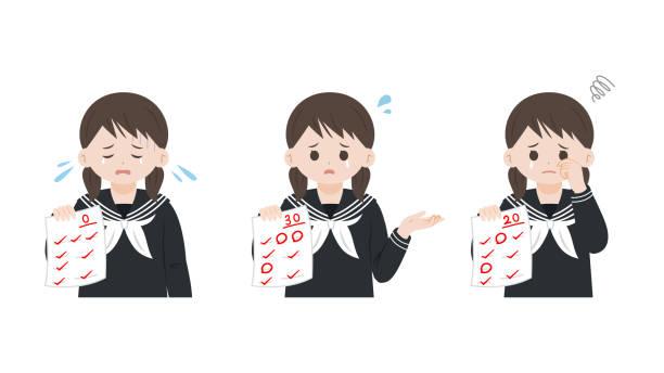 illustrazioni stock, clip art, cartoni animati e icone di tendenza di illustrazione dei risultati dei test studente - esame maturità