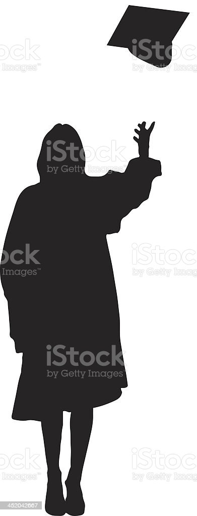 Student throwing mortarboard silhouette royalty-free stock vector art