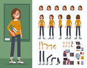 Student  character constructor and objects for animation.  Set of various women's poses, faces, hands, legs. Flat style vector illustration isolated on white background.