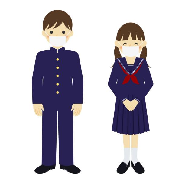 illustrazioni stock, clip art, cartoni animati e icone di tendenza di student wearing mask to prevent infection - two students together asian