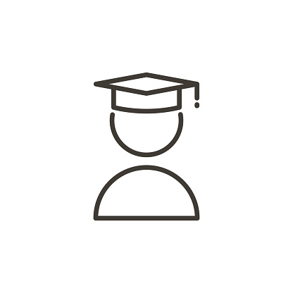 Student with academic cap icon. Modern trendy thin line icon related with education and knowledge