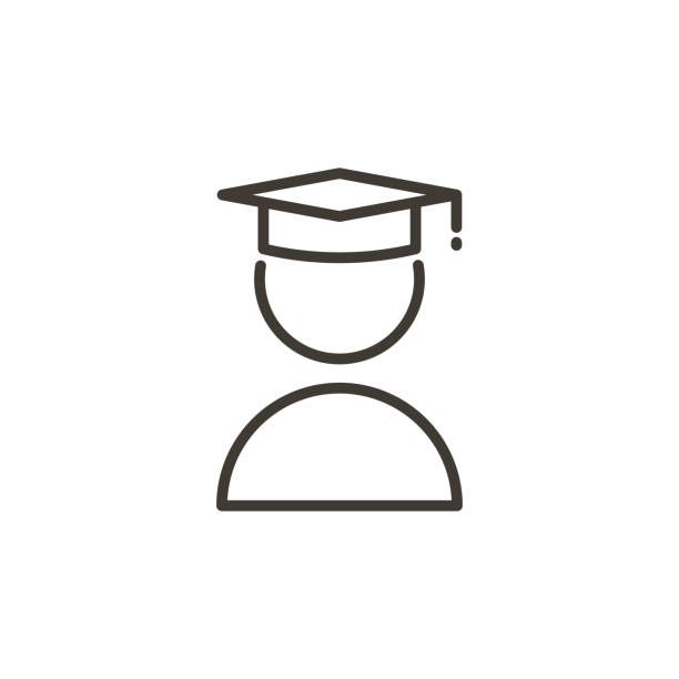 Student with academic cap icon. Modern trendy thin line icon related with education and knowledge vector art illustration