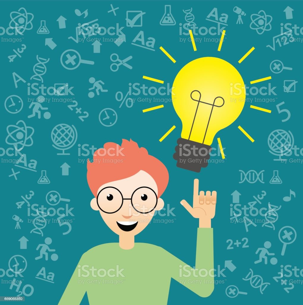Student With  bulb and Education Icons royalty-free student with bulb and education icons stock vector art & more images of 8-9 years