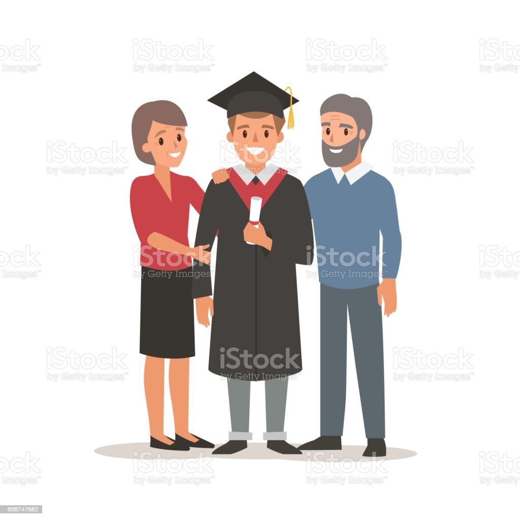 Student with parents vector art illustration
