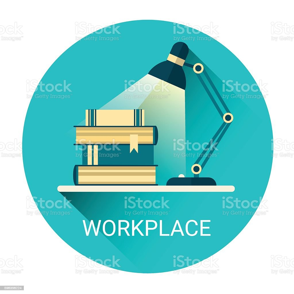 Student Workplace Books Lamp Business Icon royalty-free student workplace books lamp business icon stock vector art & more images of backgrounds