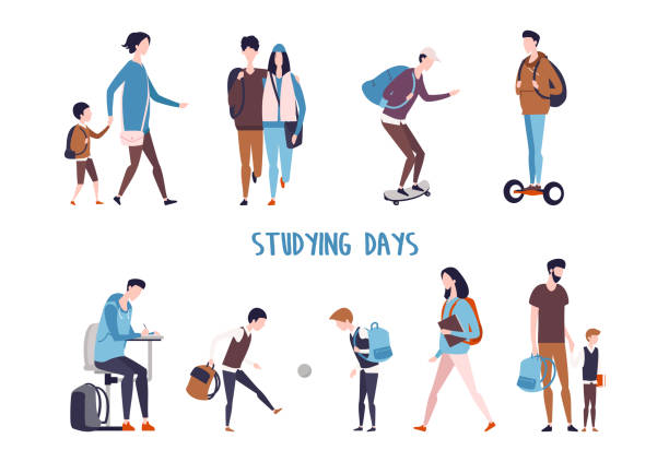 Students activity and school kids leisure. Student and school kids activity. Couple walking and boy doing homework, children playing ball and father holding son hand, man skating and using hoverboard, mother with schoolboy. Education lifestyle campus stock illustrations