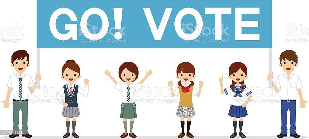 Students appeal Voting - Banner vector art illustration