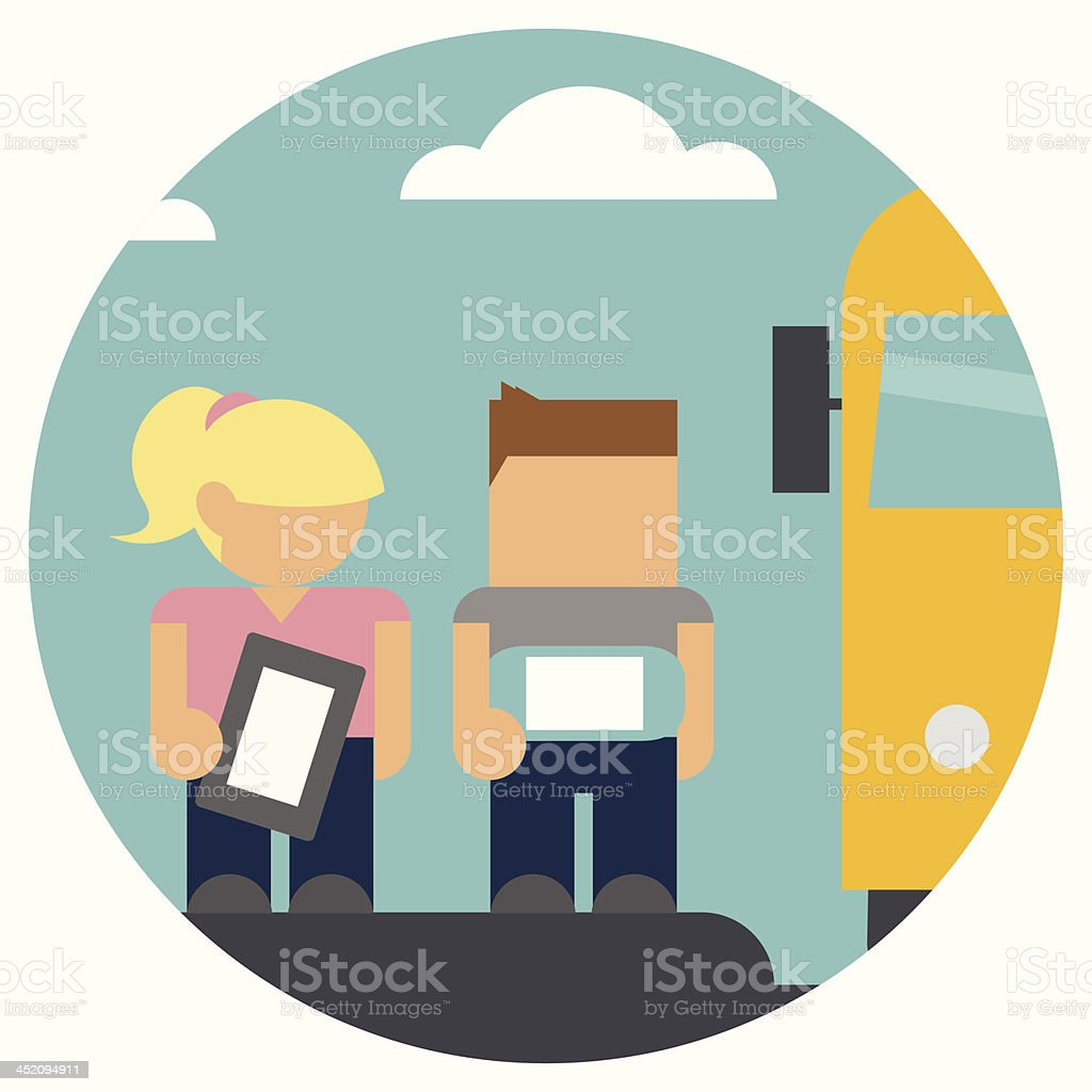 Students at the Bus Stop vector art illustration