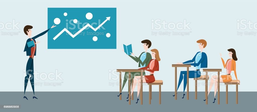 Students at their desks and teacher at blackboard or business presentation at office. Vector illustration. vector art illustration