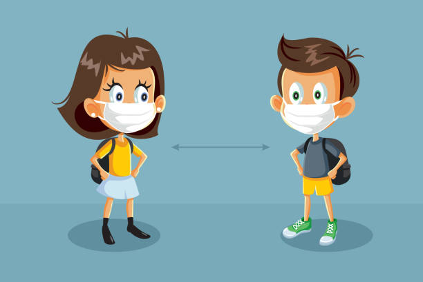 illustrations, cliparts, dessins animés et icônes de étudiants de retour à l'école pendant l'illustration de crise de santé - enfant masque