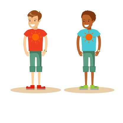 Students. Cartoon and vector isolated characters