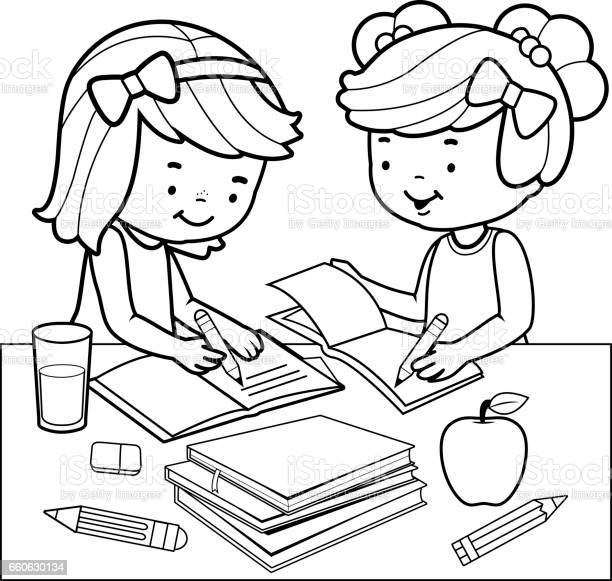 students doing homework black and white coloring book page vector id