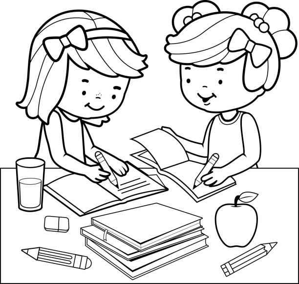 学生は宿題をしています。黒と白の本ページを着色します。 - 作文の授業点のイラスト素材/クリップアート素材/マンガ素材/アイコン素材