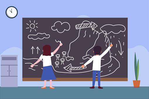 Students drawing water cycle diagram on blackboard