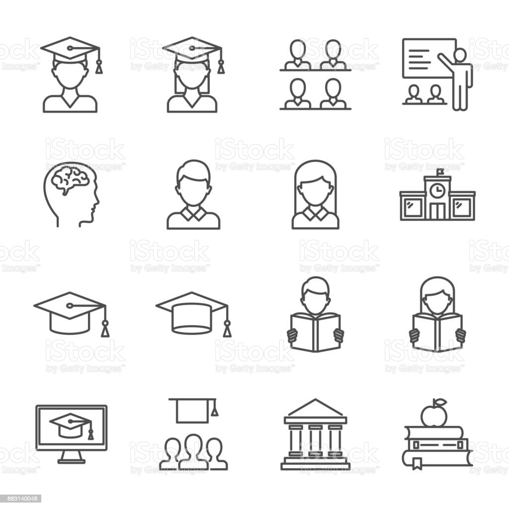 Étudiants, ensemble de l'enseignement du style de ligne des icônes vectorielles - Illustration vectorielle