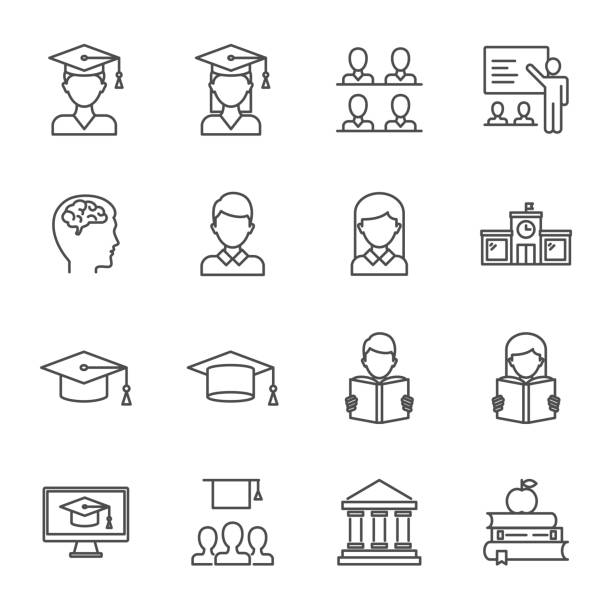 students, education set of vector icons line style - university stock illustrations, clip art, cartoons, & icons