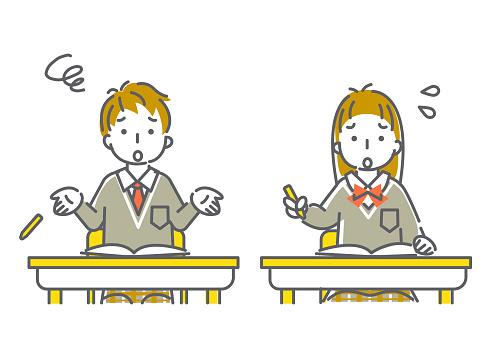 students expression series, simple line art illustration