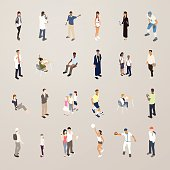 This detailed set of 24 icons is illustrated in a flat vector style. Students range in age from very young preschoolers, through elementary, high school and college/university. Among them are: a student in a lab coat using a microscope; a cheerleader; a woman and man in graduation cap and gown; a football player (American); a young girl at her desk raising her hand; students wearing school uniforms; an adult student using a laptop; three kids standing in a line; a football player (soccer); casualy-dressed teenage students; a volley ball player; and a baseball player.