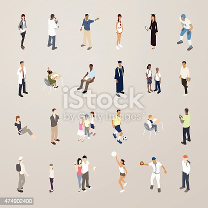 Students Flat Icons Illustration Stock Vector Art & More Images of 2015 474902400