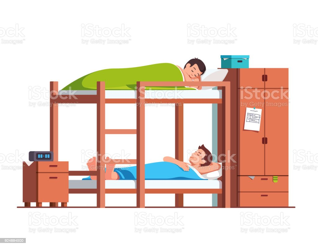 Picture of: Students Friends Sleeping On Bunk Bed In Dorm Room Stock Illustration Download Image Now Istock