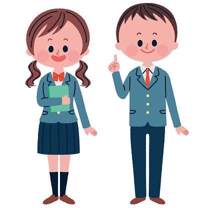 Student's full body illustration Male and female set