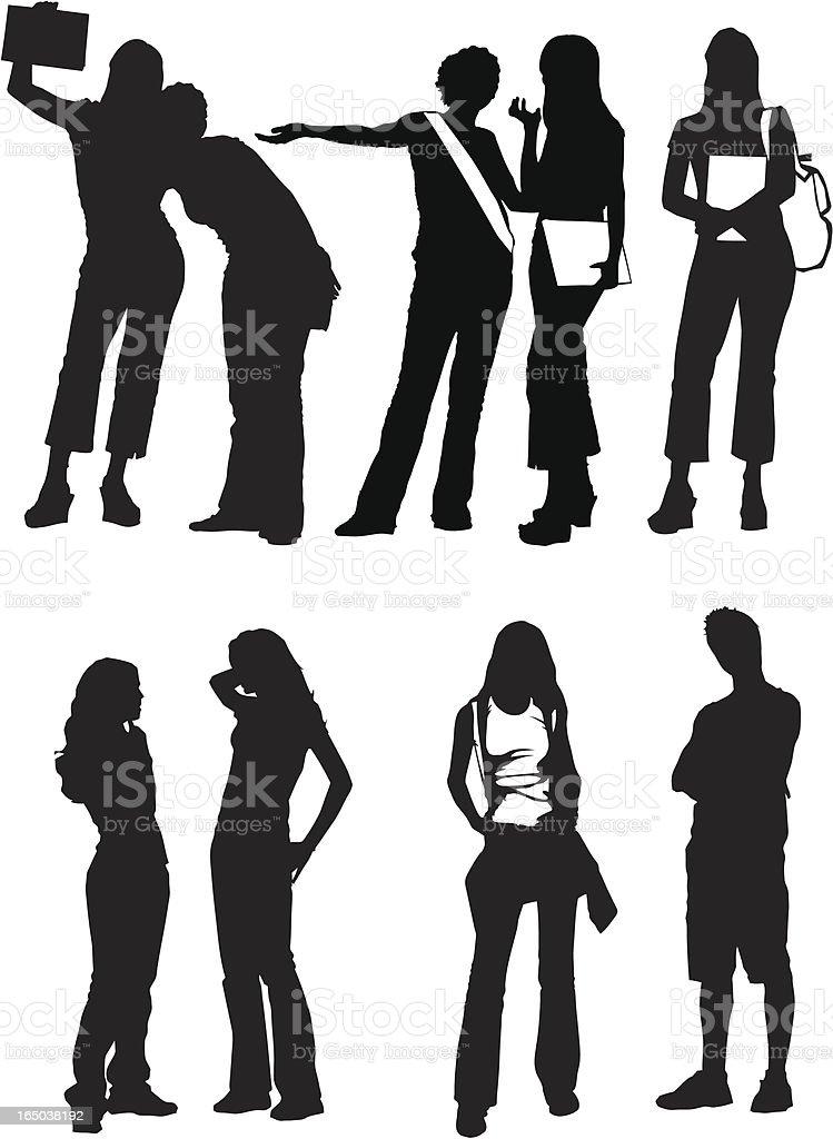 Students Girls Boy Silhouettes VECTOR set vector art illustration