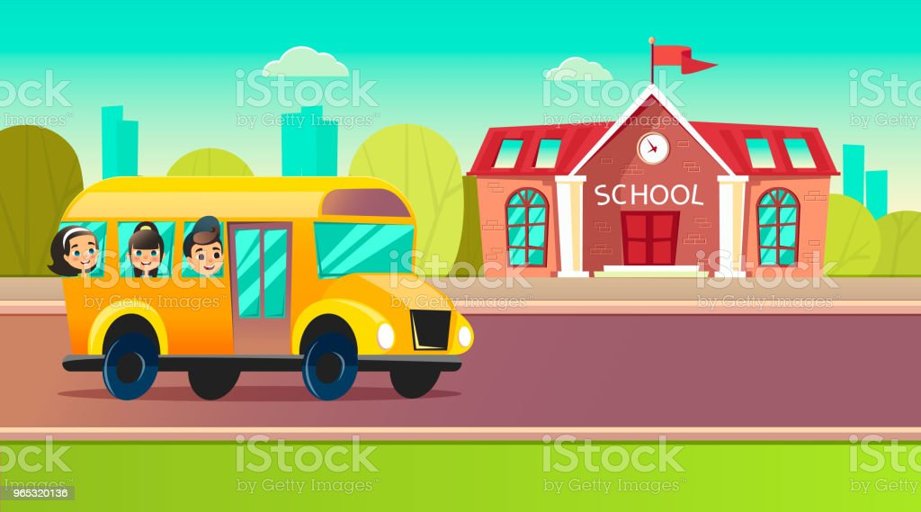 Students go to school on the schoolbus students go to school on the schoolbus - stockowe grafiki wektorowe i więcej obrazów autobus royalty-free