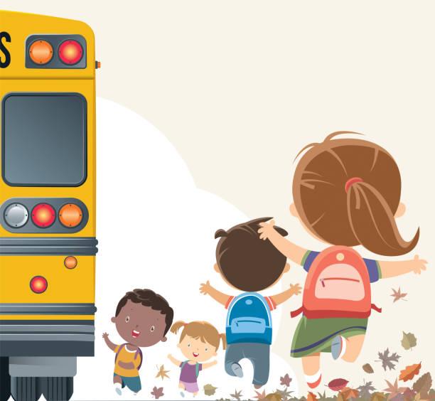 stockillustraties, clipart, cartoons en iconen met studenten met de bus naar school te gaan - schooltas