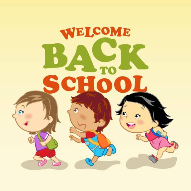 ilustraciones, imágenes clip art, dibujos animados e iconos de stock de estudiantes que van a la escuela - regreso a clases