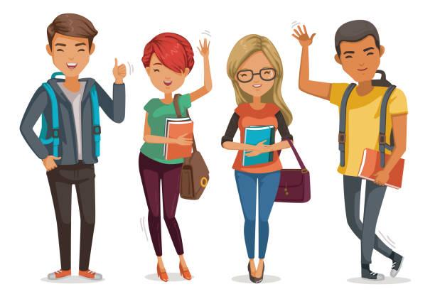 ilustraciones, imágenes clip art, dibujos animados e iconos de stock de grupo de estudiantes - escuela secundaria