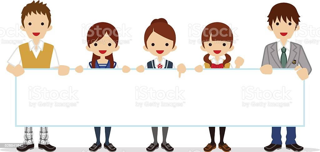 Students holding a Blank placard vector art illustration